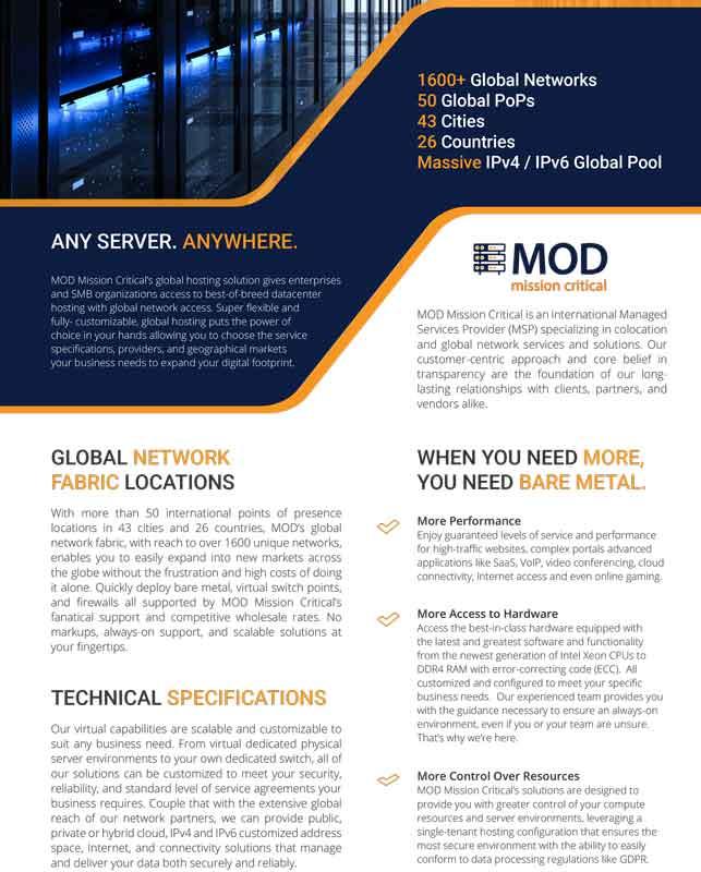 MOD Global Hosting Data Sheet